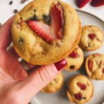 Strawberry Chocolate Chip Muffins: These are absolutely delicious, made with healthy ingredients, and has the best fluffy texture! #healthymuffins #glutenfreemuffins | www.jillzguerin.com