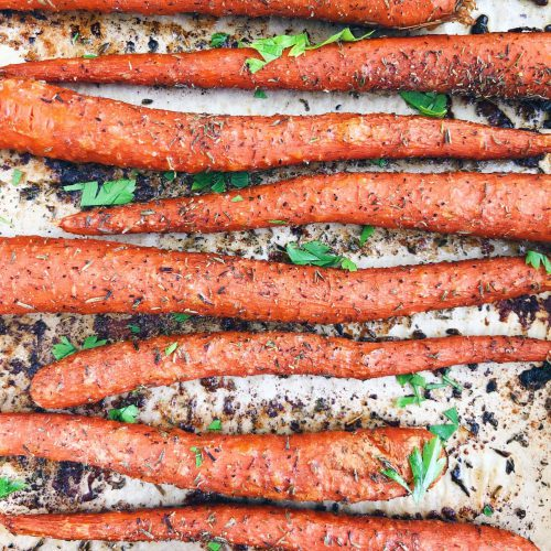 Easy Roasted Carrots: A healthy and delicious side to any meal. Tons of nutrition, but little effort! #healthyfood #healthyrecipe | www.jillzguerin.com