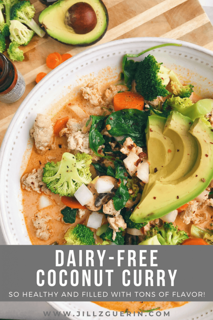 Dairy-Free Coconut Curry: One of my favorite healthy meals once the weather starts to cool down! #winterrecipe #curryrecipe | www.jillzguerin.com