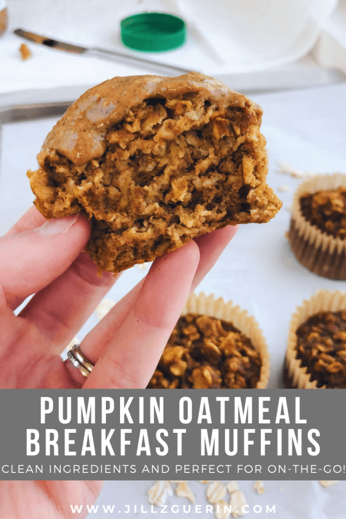 Pumpkin Oatmeal Breakfast Muffins: Filled with clean, healthy ingredients and perfect for on-the-go! #healthybreakfast #easybreakfast | www.jillzguerin.com