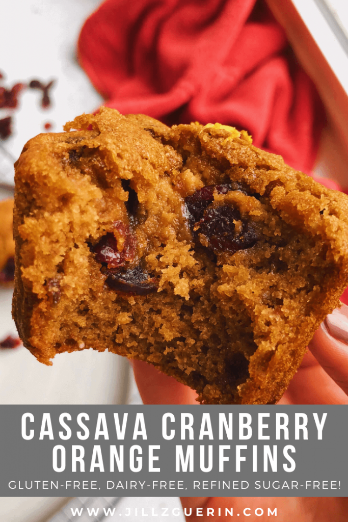 Cassava Cranberry Orange Muffins: A healthy and unique muffin made with only wholesome ingredients! #healthymuffins #glutenfreemuffins | www.jillzguerin.com