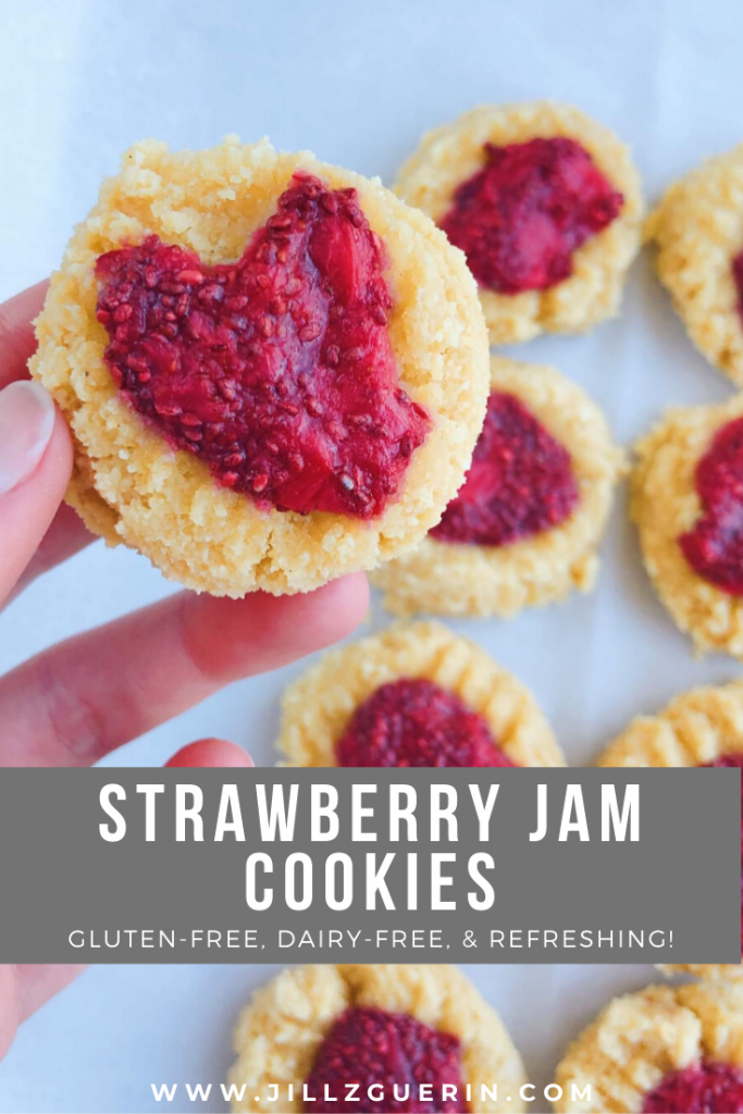 Strawberry Jam Cookies: healthy cookies that totally hit the spot and OH SO REFRESHING! #healthycookies #glutenfreecookies | www.jillzguerin.com