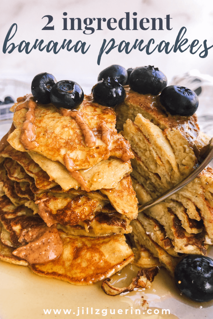 Healthy 2 Ingredient Pancakes: Only 2 ingredients!? YEP! The only ingredients used are eggs and mashed banana! Don't believe me? Try it! #healthypancakes #healthybreakfast   www.jillzguerin.com