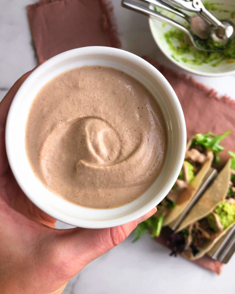 Dairy-Free Creamy Chipotle Sauce: A healthy, creamy sauce with a kick. If you're a chipotle fan, just put this on everything and thank me later! #healthysauce #dairyfree | www.jillzguerin.com