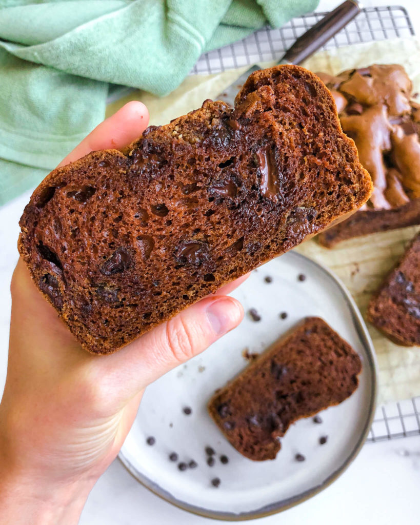 Flourless Chocolate Chunk Bread: I am IN LOVE with this bread. It's fluffy, it's simple, it's clean, and it's chocolatey! #healthydessert #glutenfree #flourless | www.jillzguerin.com