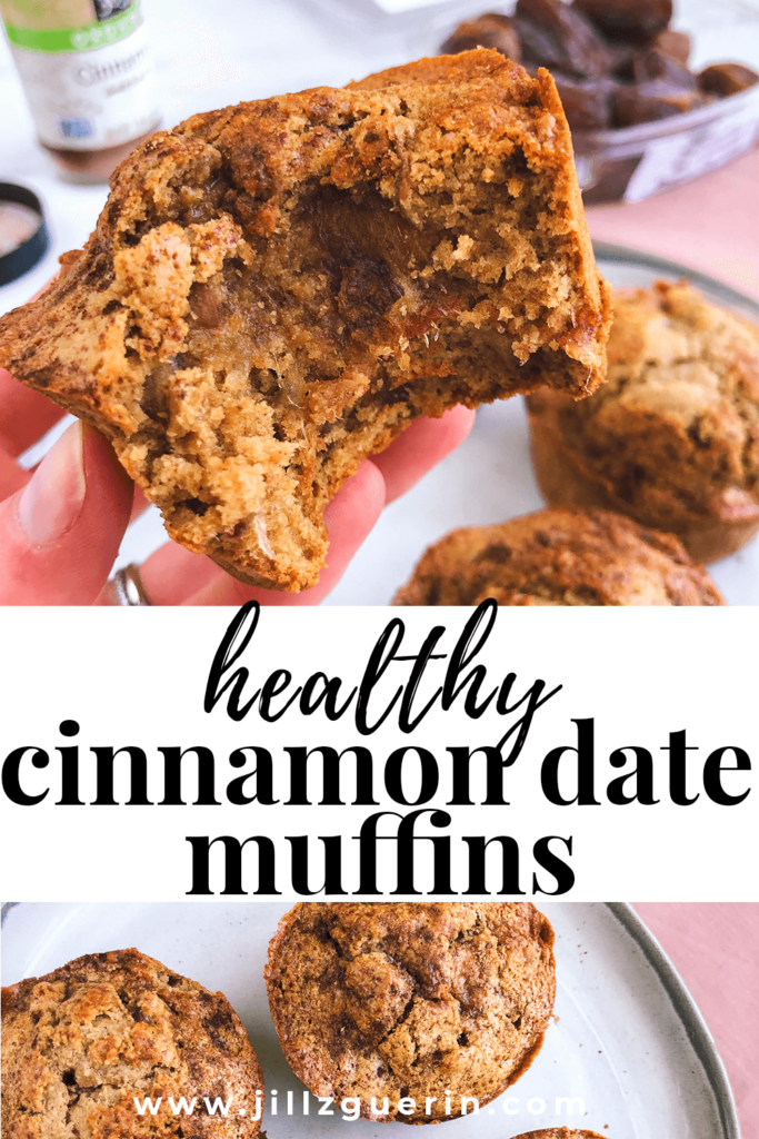 Gluten-Free Cinnamon Date Muffins: When these muffins are warm and fresh out of the oven, they're perfectly gooey + delicious, and taste just like a cinnamon roll! #healthymuffins #healthybreafkast | www.jillzguerin.com